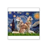 Starry Night Red Husky Pair Square Sticker 3