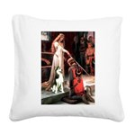 Princess / Siberian Husky Square Canvas Pillow