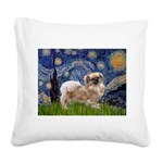 Starry / Tibetan Spaniel Square Canvas Pillow