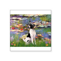 "Lilies / Toy Fox T Square Sticker 3"" x 3"""