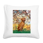 Spring / Vizsla Square Canvas Pillow
