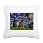 Starry / Weimaraner Square Canvas Pillow