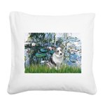 Lilies (#1) - Corgi (Bl.M) Square Canvas Pillow