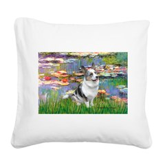 Lilies (#2) - Corgi (Bl.M) Square Canvas Pillow