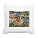 Lilies (2) & Corgi Square Canvas Pillow