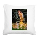 Fairies & Corgi Square Canvas Pillow