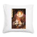 Queen / Welsh Corgi Square Canvas Pillow