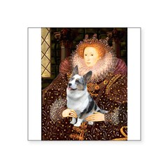 "The Queen's Corgi (Bl.M) Square Sticker 3"" x 3"""