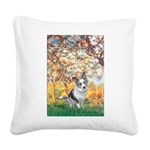 Spring - Corgi (Bl.M) Square Canvas Pillow