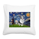 Starry Welsh Corgi (Bl.M) Square Canvas Pillow
