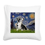 Starry Night / Welsh Corgi Square Canvas Pillow