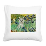 Irises / Westie Square Canvas Pillow