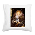 Queen Liz & Her Westie Square Canvas Pillow