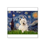 Starry Night/Westie Square Sticker 3