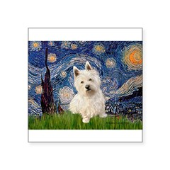 "Starry Night/Westie Square Sticker 3"" x 3"""