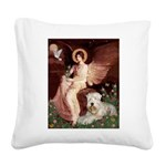 Seated Angel & Wheaten Square Canvas Pillow