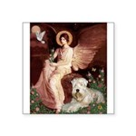 Seated Angel & Wheaten Square Sticker 3