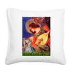 Mandolin Angel & Yorkie (T) Square Canvas Pillow