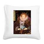 The Queen's Yorkie (T) Square Canvas Pillow