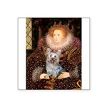 The Queen's Yorkie (T) Square Sticker 3