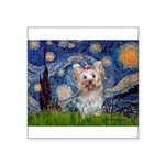 Starry Night Yorkie (T) Square Sticker 3