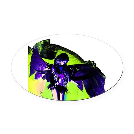 angel_2c.png Oval Car Magnet