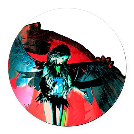angel_2b.png Round Car Magnet