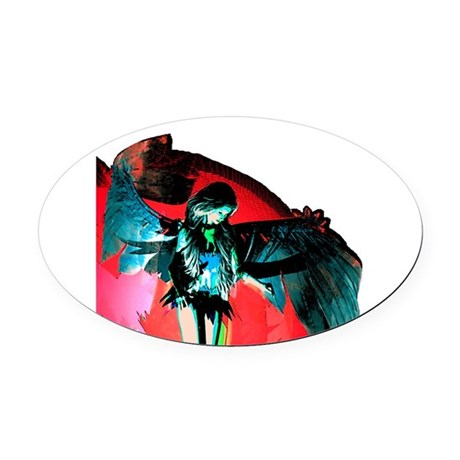 angel_2b.png Oval Car Magnet
