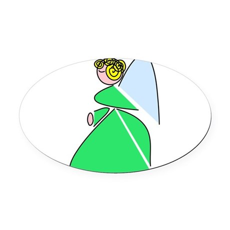 angel9e.png Oval Car Magnet