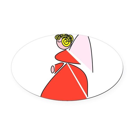 angel9b.png Oval Car Magnet