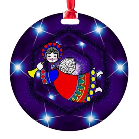 angel2a.png Round Ornament