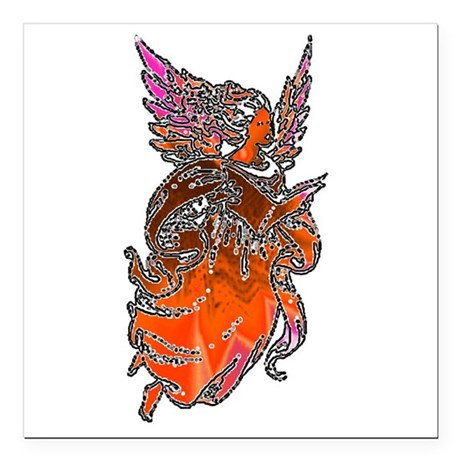"angel3d1.png Square Car Magnet 3"" x 3"""