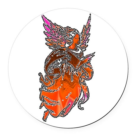 angel3d1.png Round Car Magnet