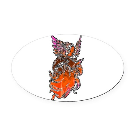 angel3d1.png Oval Car Magnet