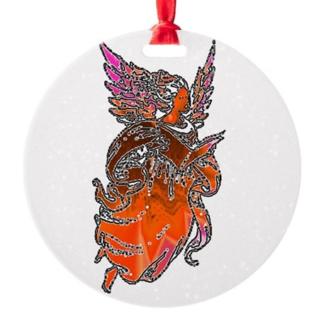 angel3d1.png Round Ornament