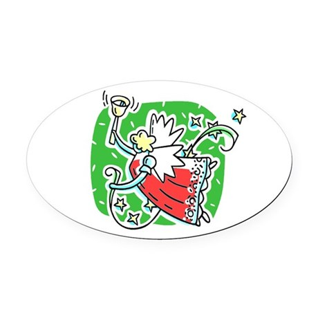 angel6b.png Oval Car Magnet