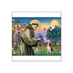 Saint Francis / Beagle Square Sticker 3