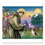 Saint Francis / Beagle Square Car Magnet 3