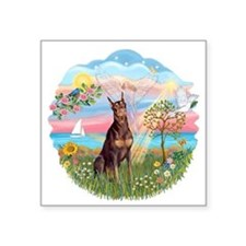 "AngelStar-RedDoberman.png Square Sticker 3"" x 3"""