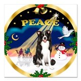 XmasSunrise/Border Collie Square Car Magnet 3&quot