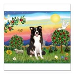 Bright Country/Border Collie Square Car Magnet 3