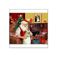 "Santas Borzoi Square Sticker 3"" x 3"""