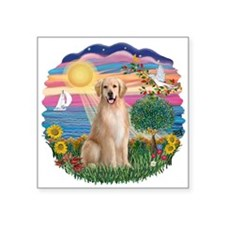 "Autumn Sun-Golden8.png Square Sticker 3"" x 3"""