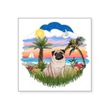 "Palms - Fawn Pug 17.png Square Sticker 3"" x 3"""