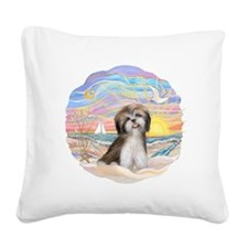 OceanSunrise-ShihTzu2.png Square Canvas Pillow