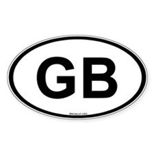 Int'l Country Code Oval Sticker: Great Britain GB