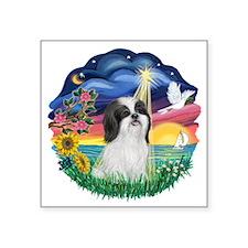 """StarWish-ShihTzu-Black-white.png Square Sticker 3"""""""
