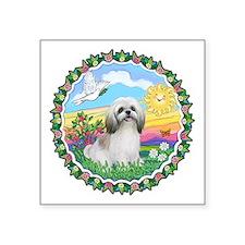 """Wreath1-ShihTzu23-cream-tan.png Square Sticker 3"""""""