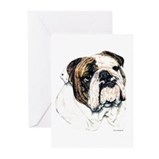 Bulldog Dog Head Greeting Cards(6)
