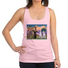 St Francis / 2 Irish Wolfhounds Racerback Tank Top